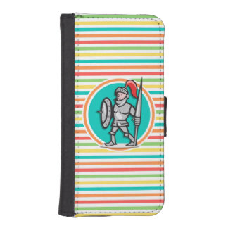 Knight on Bright Rainbow Stripes Phone Wallet Case