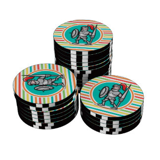 Knight on Bright Rainbow Stripes Poker Chips