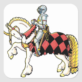 Knight on His White Horse Square Sticker