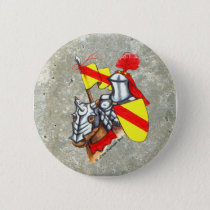 Knight on Horse Red Yellow Art Button