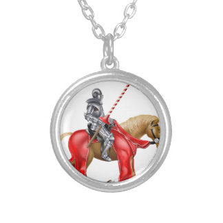 Knight on Horse Round Pendant Necklace