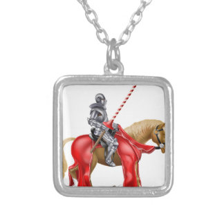 Knight on Horse Square Pendant Necklace