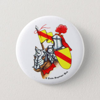 Knight on Horse with Banner and Shield Pinback Button