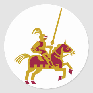Knight On Horseback Classic Round Sticker