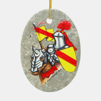 Knight on Horseback Double-Sided Oval Ceramic Christmas Ornament