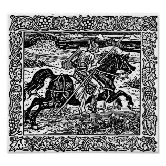 Knight on Horseback Illustration Poster