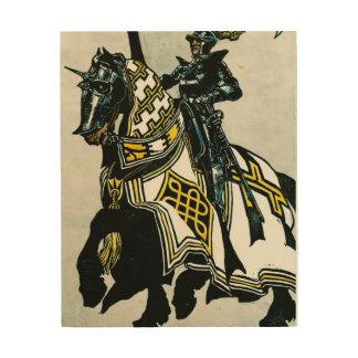 Knight on Horseback on a wooden canvas Wood Wall Art