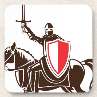 Knight on the horse vector beverage coaster