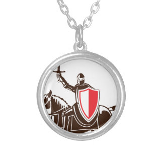 Knight on the horse vector round pendant necklace