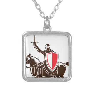 Knight on the horse vector square pendant necklace
