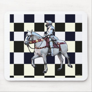 Knight on white horse with Chess board Mouse Pad