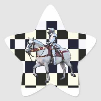 Knight on white horse with Chess board Star Sticker