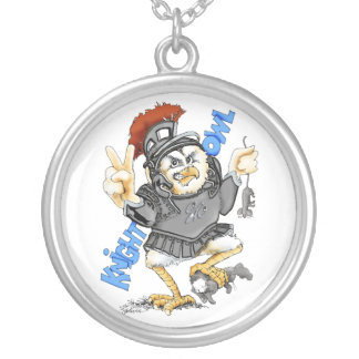 Knight Owl Round Pendant Necklace