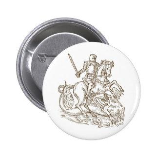 knight rider riding horse fighting dragon retro button