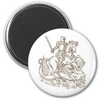 knight rider riding horse fighting dragon retro fridge magnets