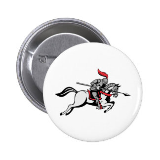 knight rider riding horse retro pin
