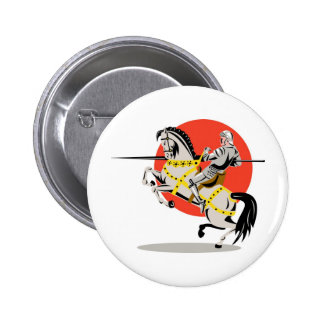 knight rider riding horse retro pinback buttons
