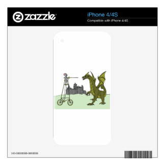 Knight Riding A Tall Bike Slaying A Dragon iPhone 4 Skins