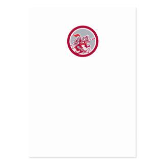 Knight Riding Horse Lance Circle Cartoon Business Card Templates