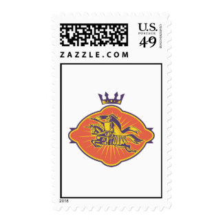 Knight Riding Horse Lance Retro Postage Stamp