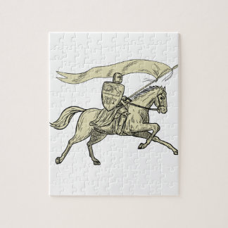 Knight Riding Horse Shield Lance Flag Drawing Jigsaw Puzzle
