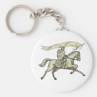 Knight Riding Horse Shield Lance Flag Drawing Keychain