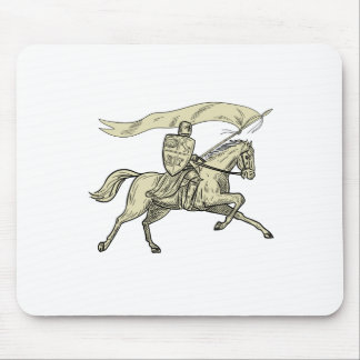 Knight Riding Horse Shield Lance Flag Drawing Mouse Pad