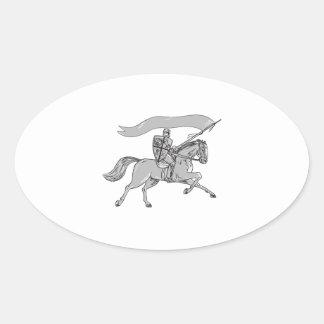 Knight Riding Horse Shield Lance Flag Retro Oval Sticker