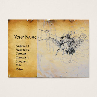 KNIGHT RIDING ON PEGASUS parchment Business Card
