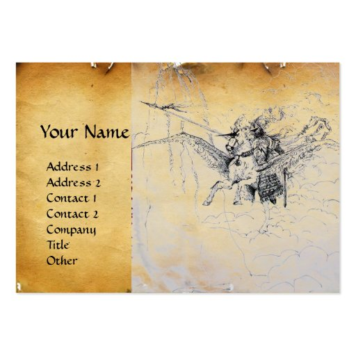 KNIGHT RIDING ON PEGASUS parchment Large Business Cards (Pack Of 100)