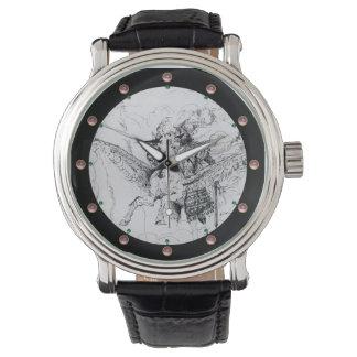 KNIGHT RIDING ON PEGASUS pearl Wristwatch