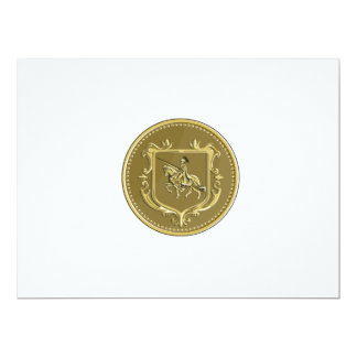 Knight Riding Steed Lance Coat of Arms Medallion R Card