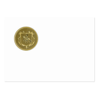Knight Riding Steed Lance Coat of Arms Medallion R Large Business Card