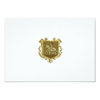 Knight Riding Steed Lance Coat of Arms Retro Card