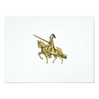 Knight Riding Steed Lance Isolated Retro Card