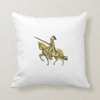 Knight Riding Steed Lance Isolated Retro Throw Pillow