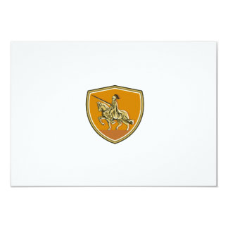 Knight Riding Steed Lance Shield Retro Card