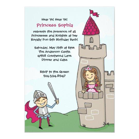 Knight Saves Princess Invitations: Brunette Card