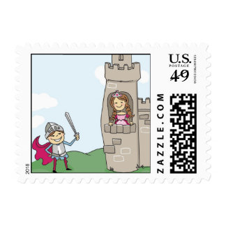 Knight Saves Princess Postage Stamps: Brunettes
