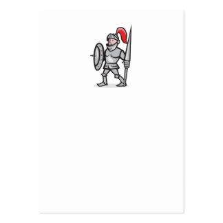 Knight Shield Holding Lance Cartoon Business Card