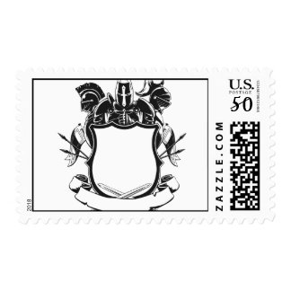 Knight & Shield Silhouette Ornament Postage
