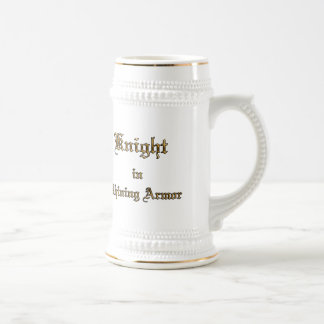 Knight Shining Armor Gold Color Text Beer Stein