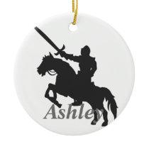 Knight silhouette ceramic ornament