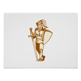 knight standing with sword and shield print