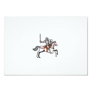 Knight Steed Wielding Sword Cartoon Card