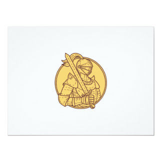 Knight Sword On Shoulder Circle Mono Line Card