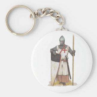 Knight Templar Medieval Basic Round Button Keychain