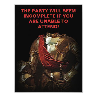 KNIGHT W/O MISSING HEAD PARTY INVITATION-CUSTOMIZE CARD