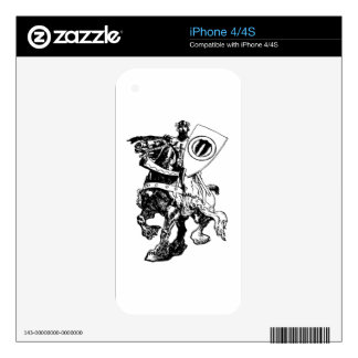 Knight w/ Shield on Huge Fiery Black Horse Skins For The iPhone 4