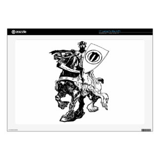 Knight w/ Shield on Huge Fiery Black Horse Laptop Decal